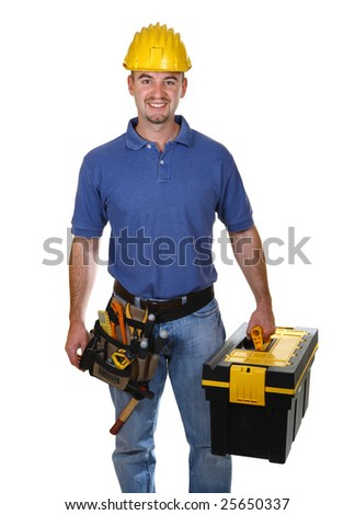 young worker man with tool box isolated on white background