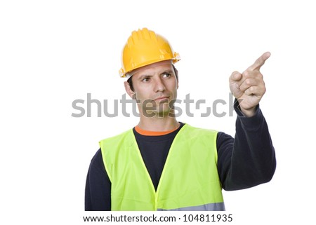 young worker pointing, in a white background