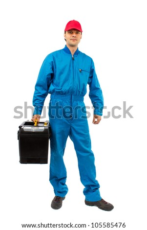 young worker wearing blue equipment toolbox isolated on white