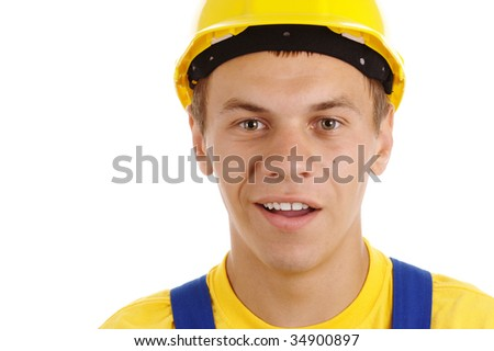 Young worker with perplexed look wearing hard hat and blue-and-yellow uniform, isolated over white