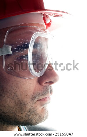 young worker with red helmet