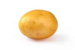 Young yellow potato, isolated on white. Close up