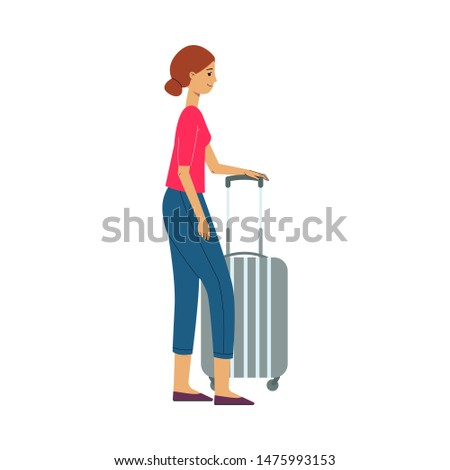 Young young woman in dress with grey travel suitcase, plastic bag smiling waiting for a flight. Happy female character, traveller, tourist going to vacation. illustration