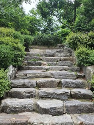 Youngin-si, Gyeonggi-do South Korea - 07 14 2020 A rock stair in the park during hot summer day