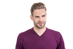 Your appearance is on-trend. Handsome man isolated on white. Mens grooming. Salon skincare and haircare. Trendy barbershop. Styling masculinity. Caring for your appearance.