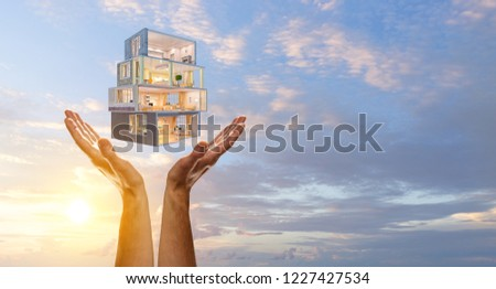 Your dream house design. Mixed media #1227427534