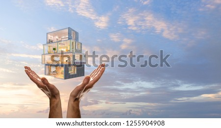 Your dream house design. Mixed media #1255904908