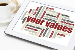 your life values word cloud on a digital tablet with a cup of coffee