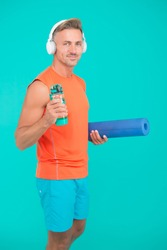 Your muscles are thirsty. Sportsman hold water bottle. Yoga coach. Fitness trainer. Feeling thirst in training or workout. Thirst and dehydration. Thirst for drink. Drink water avoid thirst.
