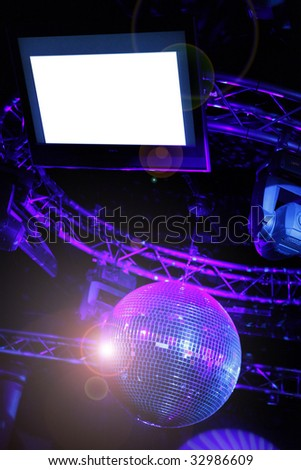 Your name here LCD screen and disco ball