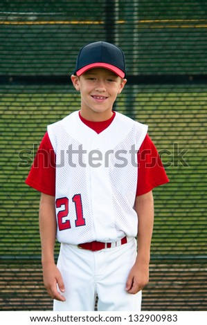 Youth baseball player portrait photo
