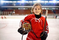 Youth girl hockey players in ice