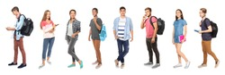 Youth lifestyle concept. Teenagers on white background