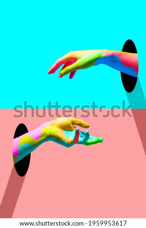Youth looks like. Bright colored hands catching each other from portals in trendy blue and coral. Copy space for ad, text. Modern design. Conceptual, contemporary bright artcollage. Party time, fun