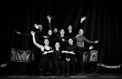 Youth theater, stage, actors, greeting, black and white photo