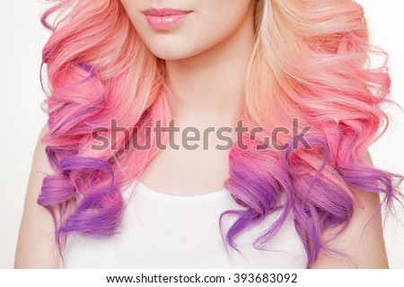 Youth women with curly colored hair. white background. Detail. Isolated. #393683092