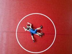 Youth wrestlers competing in the mat. View from above.