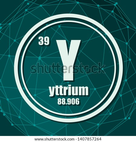 Yttrium chemical element. Sign with atomic number and atomic weight. Chemical element of periodic table. Molecule And Communication Background. Connected lines with dots.