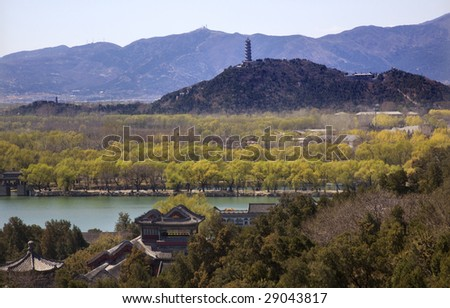 Yu Feng Pagoda From Longevity HIll Summer Palace Willows Beijing China