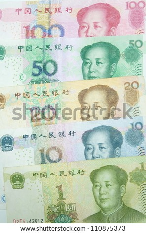 Yuan bills background
