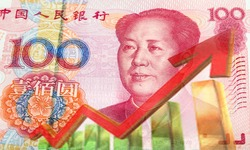 Yuan renminbi banknotes. Chinese currency and line graph, China stock market, trading graph chart business growth finance money crisis economy