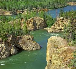 Yukon River rapids, Yukon Territory, Canada - The five Fingers rapids in Yukon