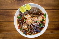 Yum,Blue Crab Salad,Spicy horse crab,Thai food, Yum Pu Dong,Spicy Pu Dong(Crab pickle) thaifood,Thai food, spicy seafood crab salad
