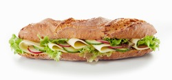 Yummy baguette sandwich with various vegetables and slices of cheese placed on white background in studio