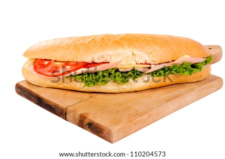 Yummy sandwich isolated on white
