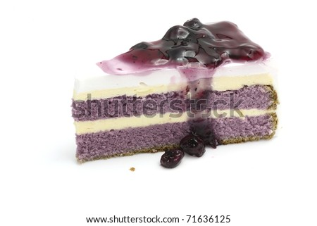 Yummy sweet Blueberry cake with Blueberry toping isolated in white background