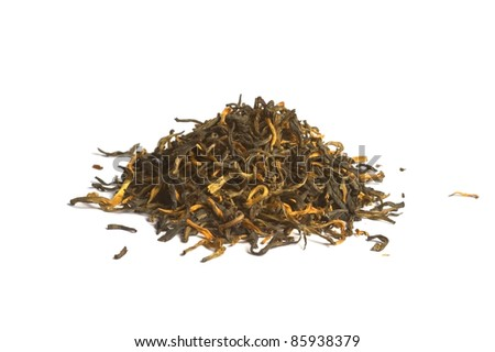 Yunnan Black tea loose dried tea leaves, isolated on the white backrgound
