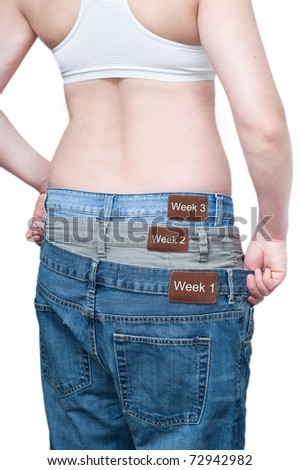 Yuong woman monitoring weekly weight loss by wearing tree jeans.