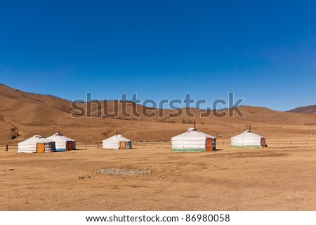 yurt camp in mountainous Mongolian steppe