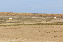 Yurts near Darvaza (Derweze) gas crater (Door to Hell or Gates of Hell) in Turkmenistan