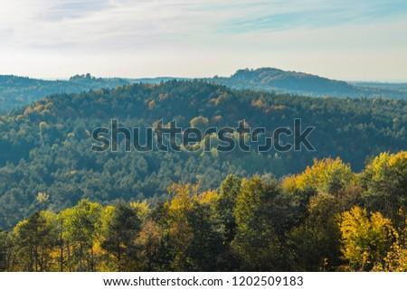 Złota Polska Autumn, around the Zborow mountain range, Poland Zdjęcia stock ©