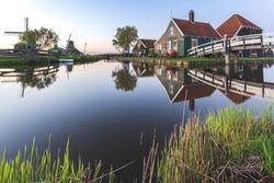 Zaanse Schans in the Netherlands. Zaanse Schans is a neighborhood of Zaandam, near Zaandijk in the Netherlands