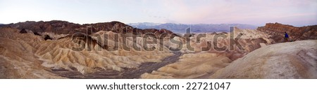 Zabriskie Point Panoramic at Sunset with Photographer Famous Spot in Death Valley