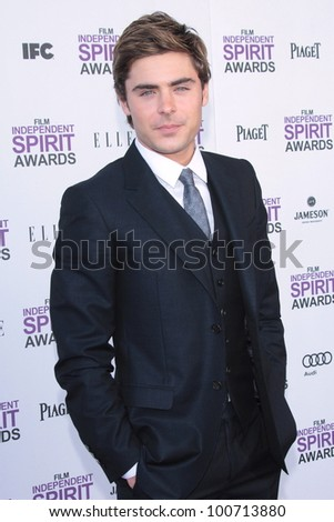 Zac Efron at the 2012 Film Independent Spirit Awards, Santa Monica, CA 02-25-12