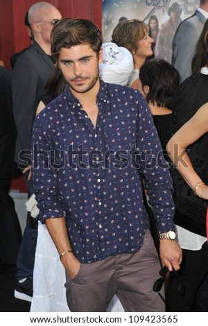 """Zac Efron at the world premiere of """"Rock of Ages"""" at Grauman's Chinese Theatre, Hollywood. June 9, 2012  Los Angeles, CA Picture: Paul Smith / Featureflash"""