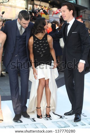 Zachary Quinto, Zoe Saldana and Benedict Cumberbatch arriving for the UK premiere of 'Star Trek Into Darkness' at The Empire Cinema, London. 02/05/2013