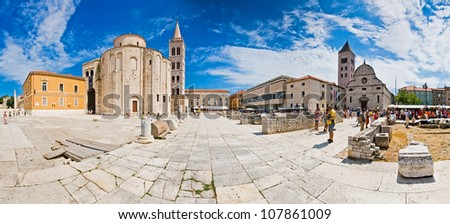 ZADAR, CROATIA - AUG 7: Forum with Church of St. Donat in Zadar, Croatia on August 7, 2008. Church was built in 9th century and is one of the largest examples of Byzantine architecture in Dalmatia.
