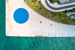 Zadar famous landmarks aerial view. Greetings to the sun and sea organs view from above. Dalmatia region of Croatia