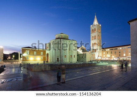Zadar forum Saint Donatus church and St. Anastasias Cathedral with bell tower at night, Croatia