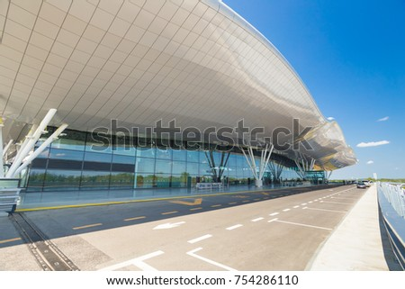ZAGREB AIRPORT - 24 APRIL 2017: Exterior of arrivals terminal. #754286110