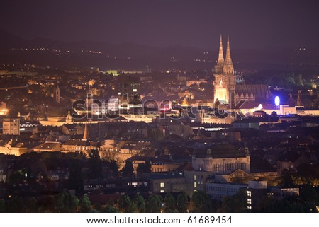 Zagreb capitol of Croatia. Panorama by night with cathedral
