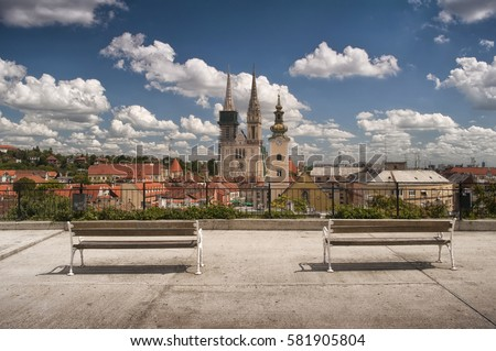 Shutterstock Zagreb Cathedral and city skyline with empty benches in foreground as seen from Gradec, Zagreb