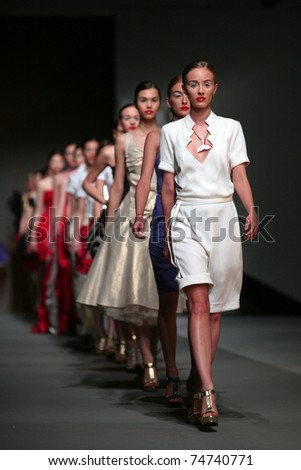 ZAGREB, CROATIA - APRIL 2: Fashion model wears clothes made by Luka in 'Croaporter' show, April 2, 2011 in Zagreb, Croatia.
