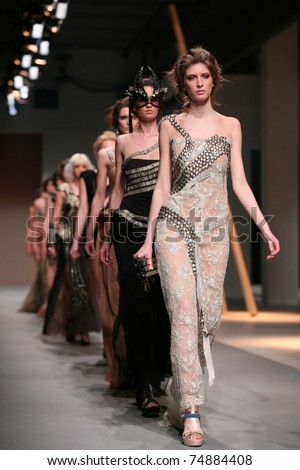ZAGREB, CROATIA - APRIL 2: Fashion models wear clothes made by Matija Vuica in 'Croaporter' show, April 2, 2011 in Zagreb, Croatia.