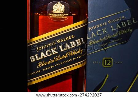 ZAGREB , CROATIA - April 30th , 2015 : Johnnie Walker black label  Scotch Whiskey label on the bottle   ,product shot
