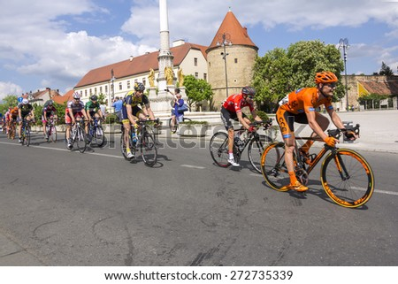 Zagreb, Croatia - April 26, 2015: The final stage of cycling race Tour of Croatia in downtown Zagreb.